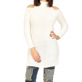 Λευκό Πλεκτό Μπλουζοφόρεμα με Έξω τους Ώμους