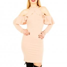 Ροζ Στενό Midi Φόρεμα