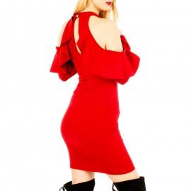 Κόκκινο Στενό Midi Φόρεμα
