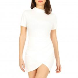 Λευκό Εφαρμοστό Mini Φόρεμα