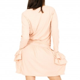 Ροζ Mini Φόρεμα με Τσέπες