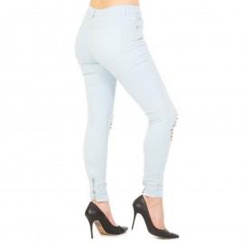 Γαλάζιο Ψηλόμεσο Skinny Jeans με Τρουκς
