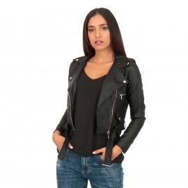 Μαύρο Ματ Cropped Biker Jacket