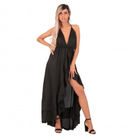 Μαύρο Σατέν Maxi Φόρεμα με...