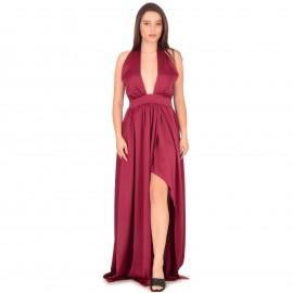 Μπορντό Σατέν Maxi Φόρεμα...