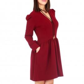 Μπορντο Μακρυμάνικο Mini Φόρεμα