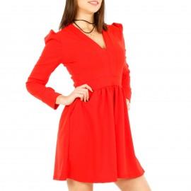 Κόκκινο Μακρυμάνικο Mini Φόρεμα