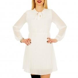 Λευκό Πλισέ Φόρεμα με Φιόγκο