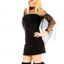 Μαύρο C-throu Φόρεμα με Τούλι