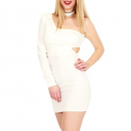 Λευκό Mini Φόρεμα με Έξω τον Ώμο