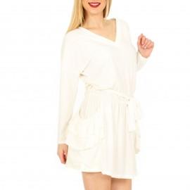 Λευκό Mini Φόρεμα με Τσέπες