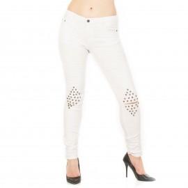 Λευκό Ψηλόμεσο Skinny Jean με Τρουκς