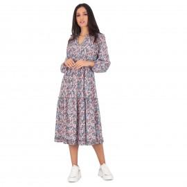 Φλοράλ Midi Φόρεμα με Βολάν