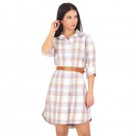 Καρό Mini Φόρεμα με Ζώνη