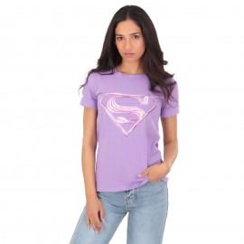 Μωβ T-Shirt με Στάμπα