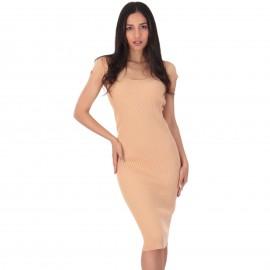 Μπεζ Ripped Midi Φόρεμα