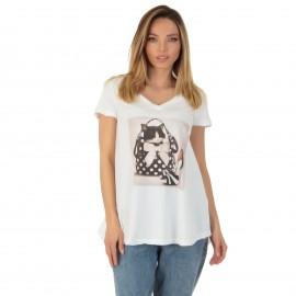 Λευκό T-Shirt με Στάμπα και...