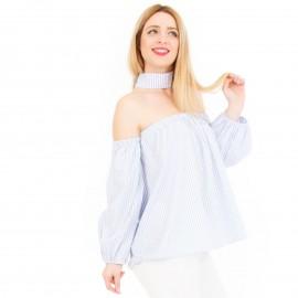 Γαλάζια Μπλούζα Off Shoulder με Τσόκερ