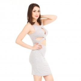 Γκρι Midi Φόρεμα με Άνοιγμα στο Στήθος