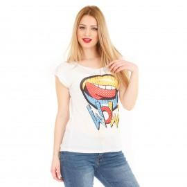 Λευκό T-Shirt με Χείλη
