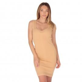 Μπεζ Ripped Mini Φόρεμα με...
