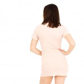 Ροζ Εφαρμοστό Mini Φόρεμα