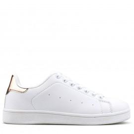 Λευκά Sneakers με Ροζ Λεπτομέρεια