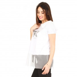 Λευκό T-Shirt με Τούλι