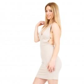 Μπεζ Mini Φόρεμα με Αλυσίδες