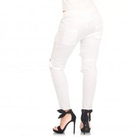 Λευκό Παντελόνι με Σκισίματα