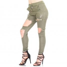 Χακί Παντελόνι με Σκισίματα