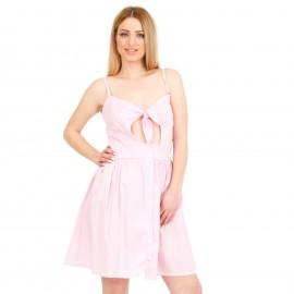 Ροζ Mini Φόρεμα με Φιόγκο
