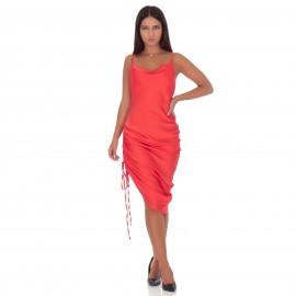 Κοραλλί Σουρωτό Midi Φόρεμα...