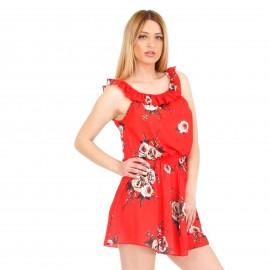 Κόκκινο Φλοράλ Σετ Φούστα-Μπλούζα