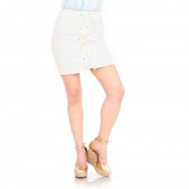 Λευκή Mini Φούστα με Κορδόνια