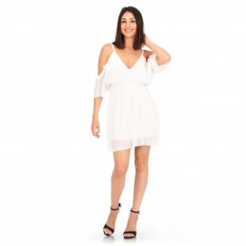 Λευκό Πλισέ Φόρεμα