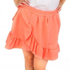 Κοραλί Mini Φούστα με Βολάν