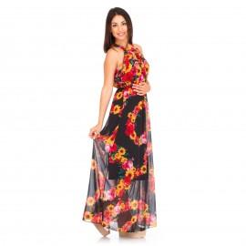 Εμπριμέ Μακρύ Φόρεμα με Λουλούδια
