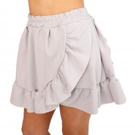 Γκρι Mini Φούστα με Βολάν