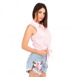 Ροζ Καρό Αμάνικο Πουκάμισο