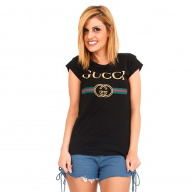 """Μαύρο T-Shirt με Στάμπα """"Gucci"""""""