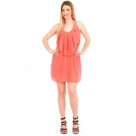 Κοραλί Mini Φόρεμα