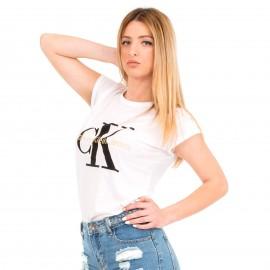 """Λευκό T-Shirt με Γράμματα """"Ck"""""""