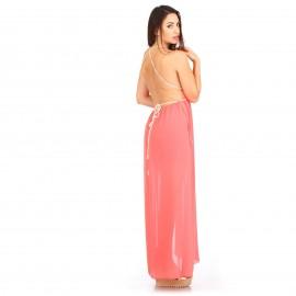 Κοραλί Maxi Φόρεμα με Ανοιχτή Πλάτη