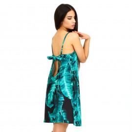 Πράσινο Mini Φόρεμα με Φτερά