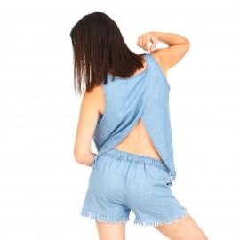 Γαλάζια Μπλούζα με Κρόσσια