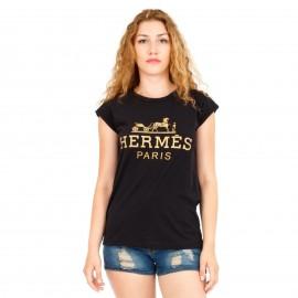 Μαύρο T-Shirt με Γράμματα