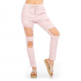 Ρόζ Παντελόνι με Σκισίματα