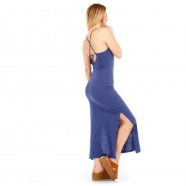 Μπλέ Maxi Φόρεμα με Ανοιχτή Πλάτη