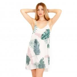 Λευκό Φλοράλ Mini Φόρεμα